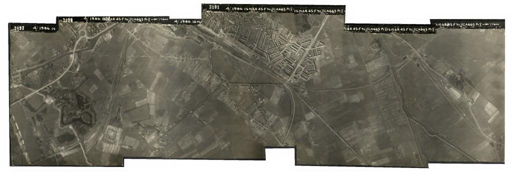 Mozaiek van WOII luchtfoto's verbetert explosieven-opsporing. Hier WOII luchtfoto's van Zwolle, gemaakt door Dotka Data