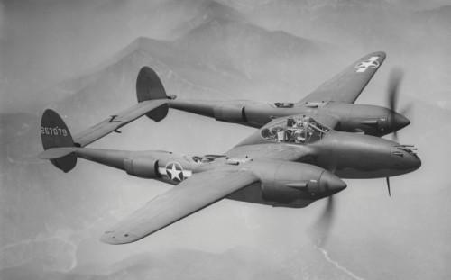Foto van een Amerikaanse Lockheed-Martin P38 bommenwerper, ingezet tijdens WOII.